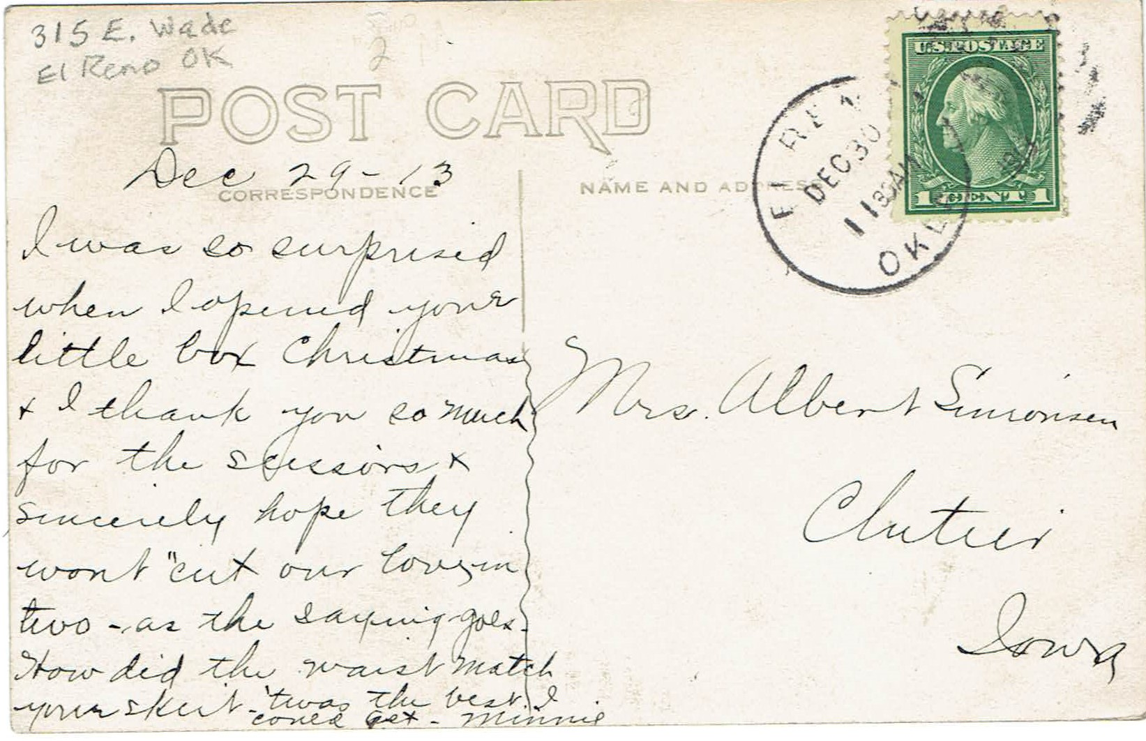 315 E Wade Street postcard 1913 back Tommy Neathery Collection