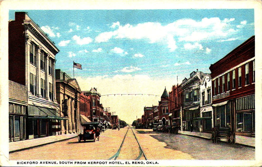 Bickford Avenue looking South from Kerfoot Hotel El Reno Tommy Neathery Collection