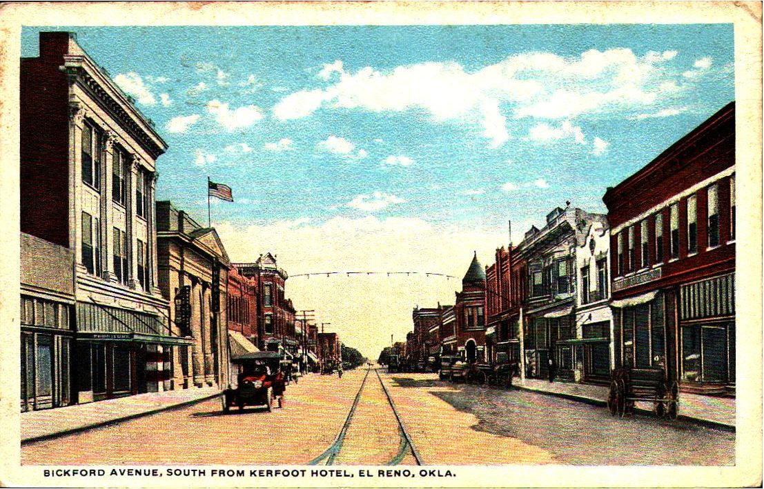 Bickford Avenue looking South from Kerfoot Hotel El Reno ca 1917 Tommy Neathery Collection