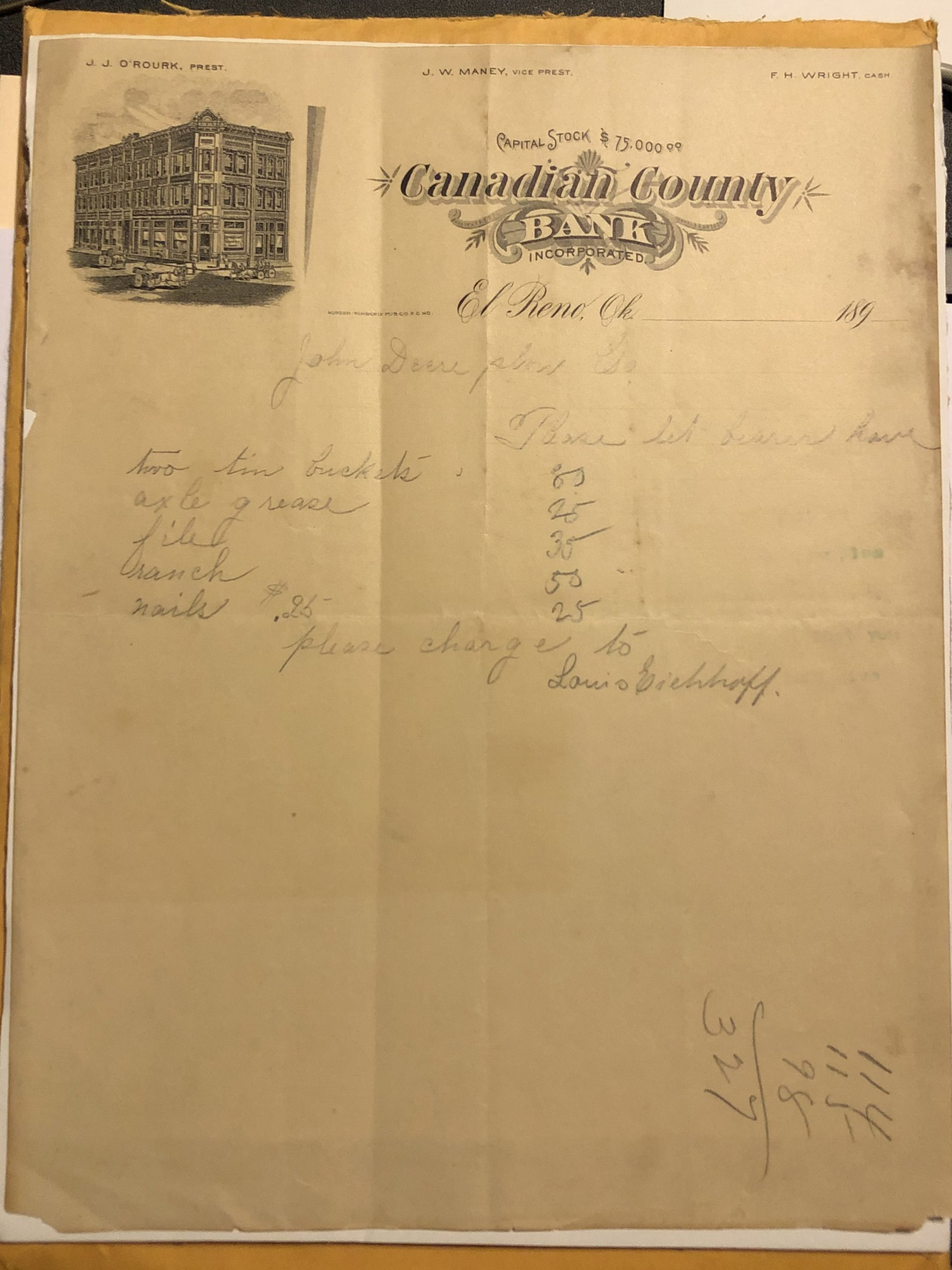Canadian County Bank Letterhead Tommy Neathery Collection