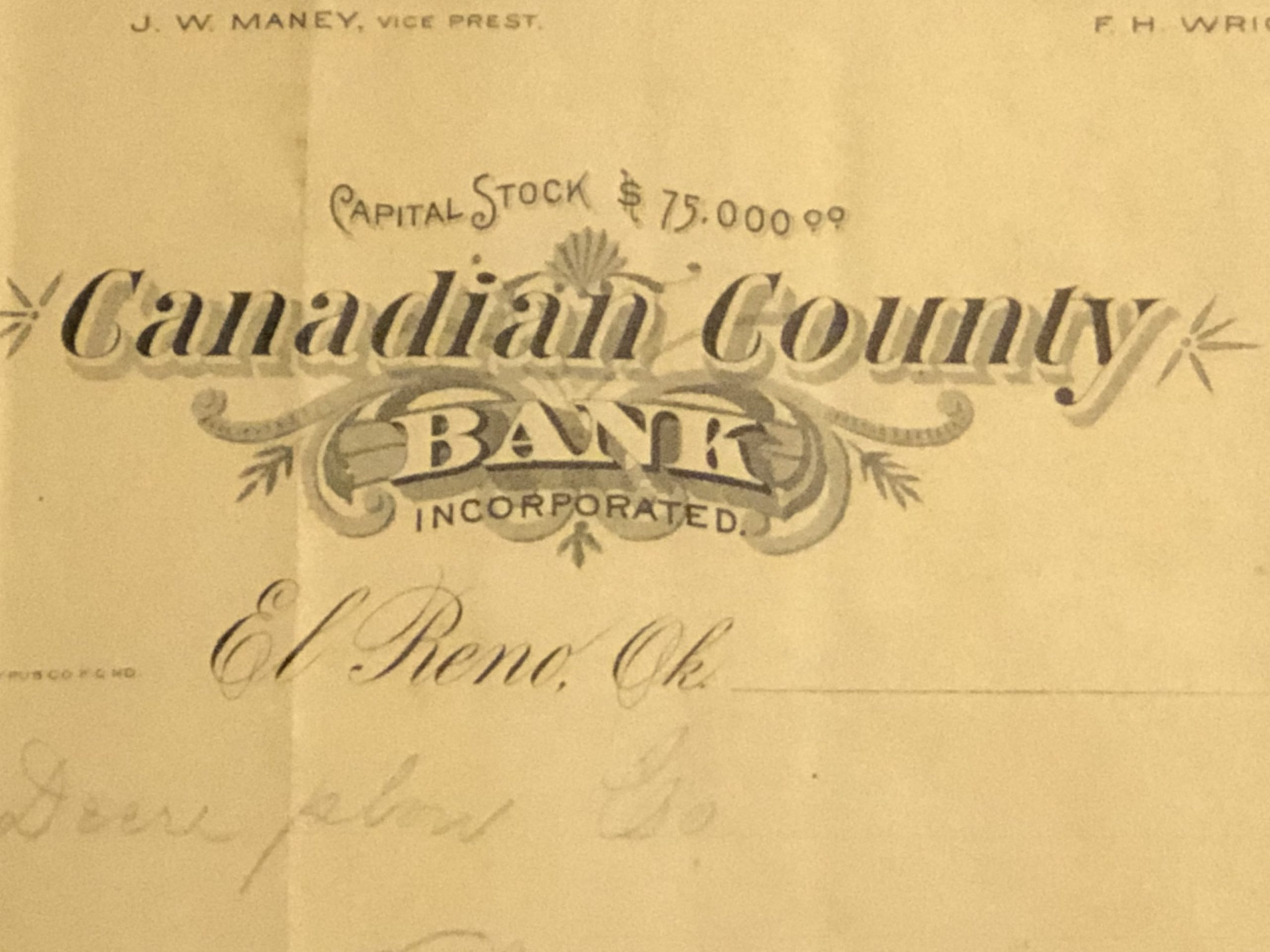 Canadian County Bank Letterhead crop Tommy Neathery Collection