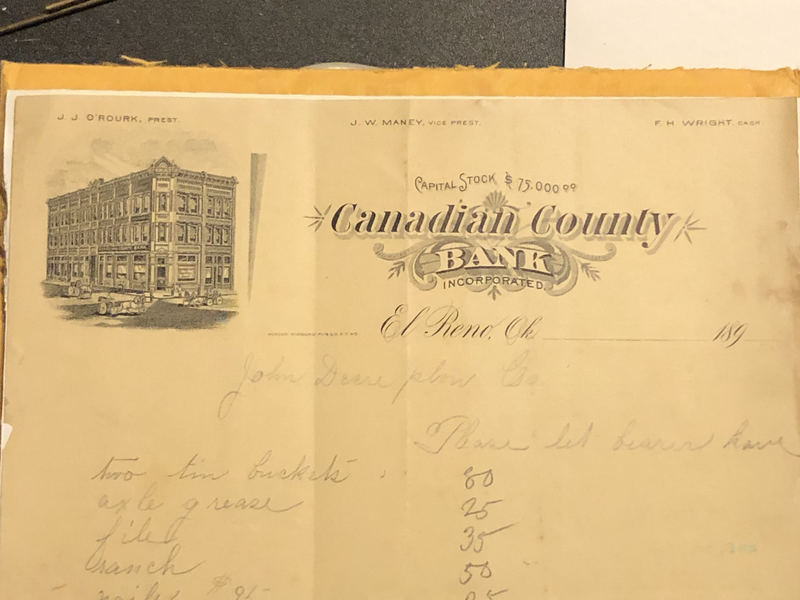 Canadian County Bank Letterhead cropped Tommy Neathery Collection