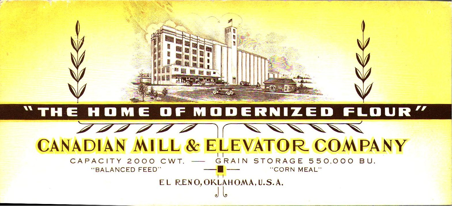 Canadian Mill and Elevator Company El Reno blotter Tommy Neathery Collection