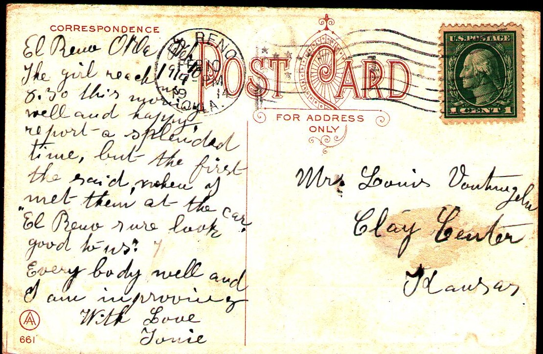 Depot Update ca 1914 mailed from El Reno back Tommy Neathery Collection