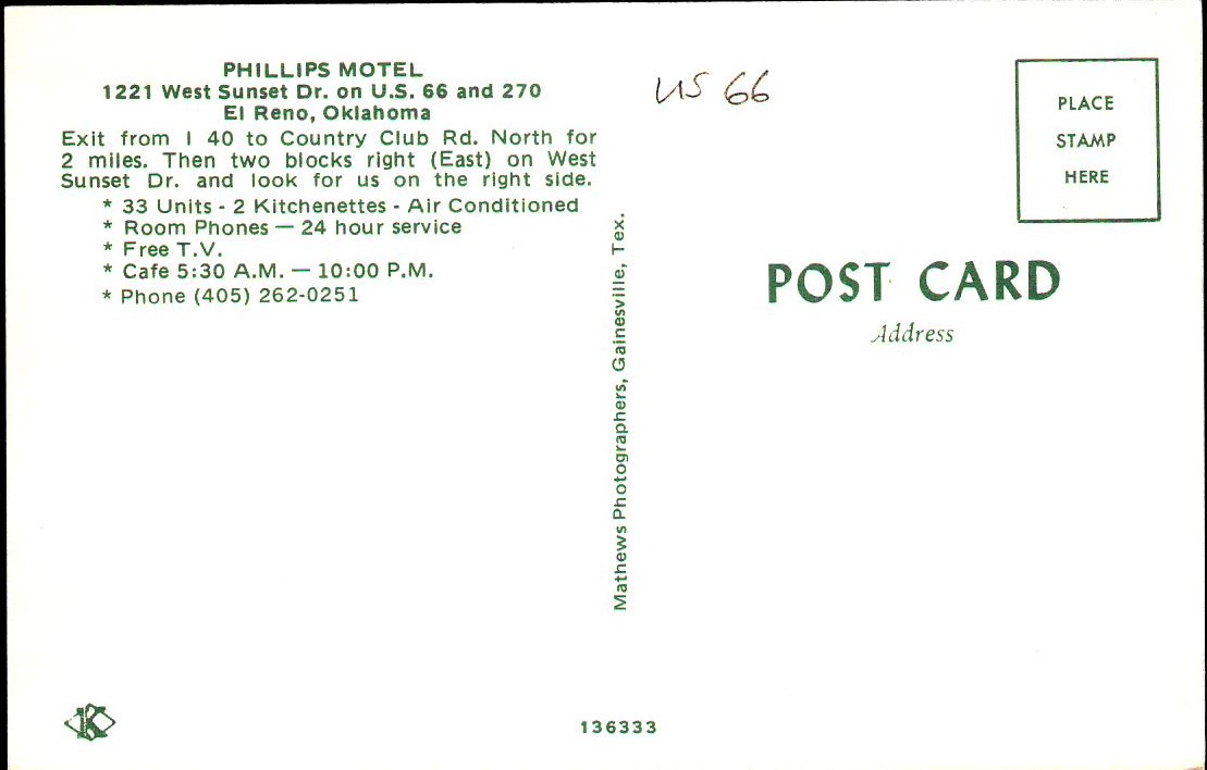 Phillips Motel El Reno Tommy Neathery Collection back