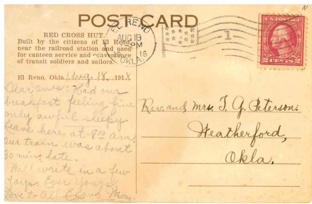 Red Cross Hut Postmarked August 19 1918 back