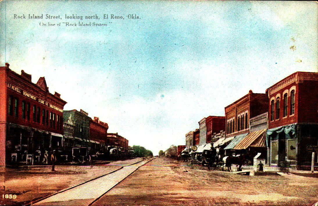 Rock Island Street looking North El Reno ca 1909 Tommy Neathery Collection