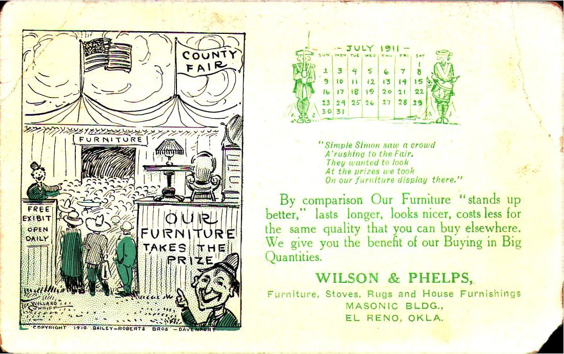 Wilson and Phelps Jul 1911 Tommy Neathery Collection